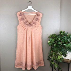 Sundance Floral Appliqué Embroidered Blush Dress